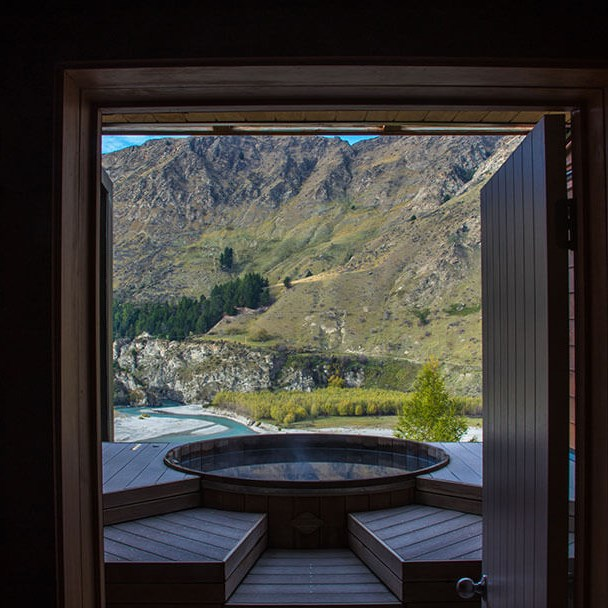 """<strong><a href=""""http://www.onsen.co.nz/gallery"""">The Onsen Hot Pools</a></strong> <br> <br> Queenstown, New Zealand <br> <br> Undoubtedly one of t<em>he</em> most Instagram-worthy retreats in the world, the Onsen Hot Pools are a must visit. You can relax in the pure water pools looking over the Shotover Canyon, both day and night. Treat yourself to the hour long massage while you're there."""