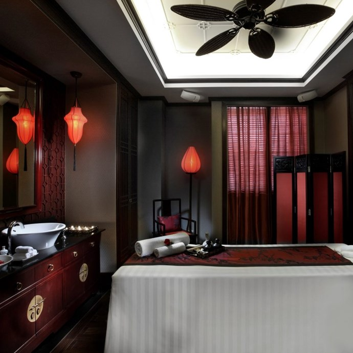 """<strong><a href=""""http://www.sofitel.com/gb/hotel-1555-sofitel-legend-metropole-hanoi/index.shtml"""">The Sofitel Legend Metropole Spa</a></strong> <br> <br> Hanoi, Vietnam <br> <br> Navigating the streets of Hanoi can be stressful, so take a day to rest at the Sofitel hotel spa located in Hanoi's French Quarter. Everything from the heritage décor to the Turkish baths exudes luxury relaxation."""