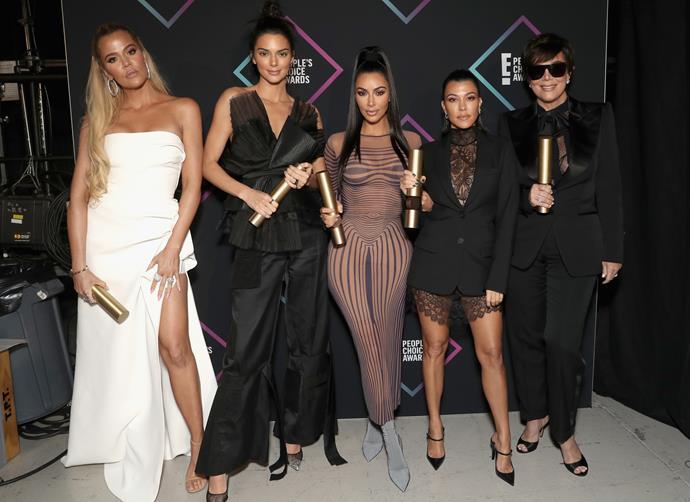 Khloé Kardashian, Kendall Jenner, Kim Kardashian West, Kourtney Kardashian and Kris Jenner at the E! People's Choice Awards.