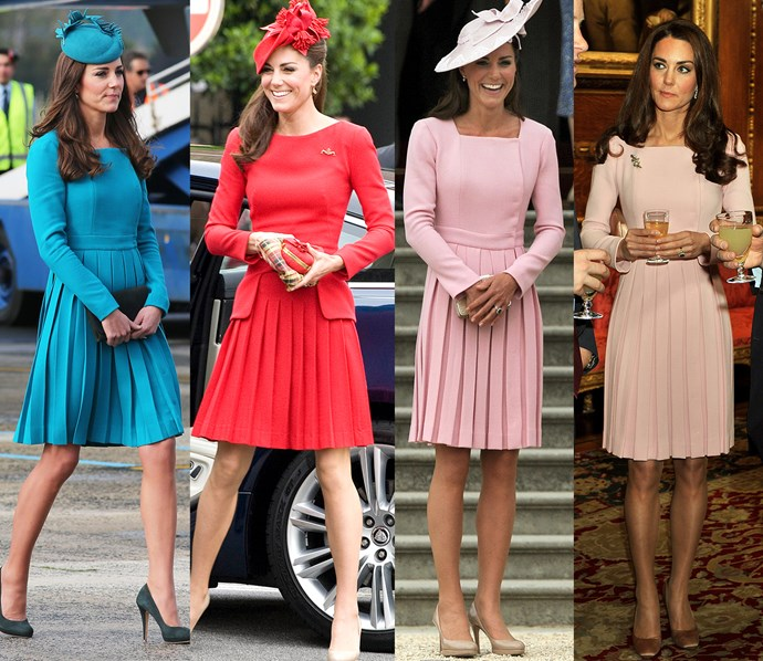 Kate had this custom Emilia Wickstead dress made in teal, red and baby pink and pale pink.
