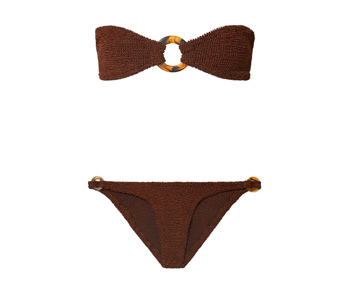 """**Hunza G bikini, $215.58 at [Net-a-Porter](https://www.net-a-porter.com/au/en/product/1128078/hunza_g/gloria-embellished-seersucker-bandeau-bikini