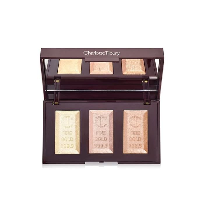 "**Best Powder Highlighter**  <br><br> Bar of Gold Highlighter Palette, $90 at [Charlotte Tilbury](https://www.charlottetilbury.com/au/bar-of-gold-highlighter-palette.html|target=""_blank""|rel=""nofollow"")"