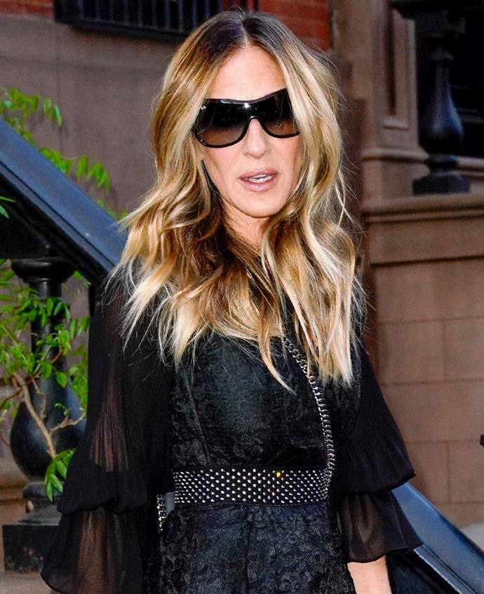 **Oblong Face:** This face shape can carry a larger frame, so opt for round or square shapes with broader rims like Sarah Jessica Parker.