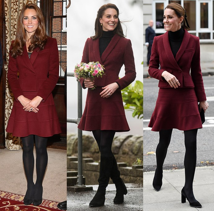 ***Paule Ka burgundy skirt suit***<br> Worn for the first time in 2012, this Paule Ka suit got a second run in 2017 and a third in November, 2018.