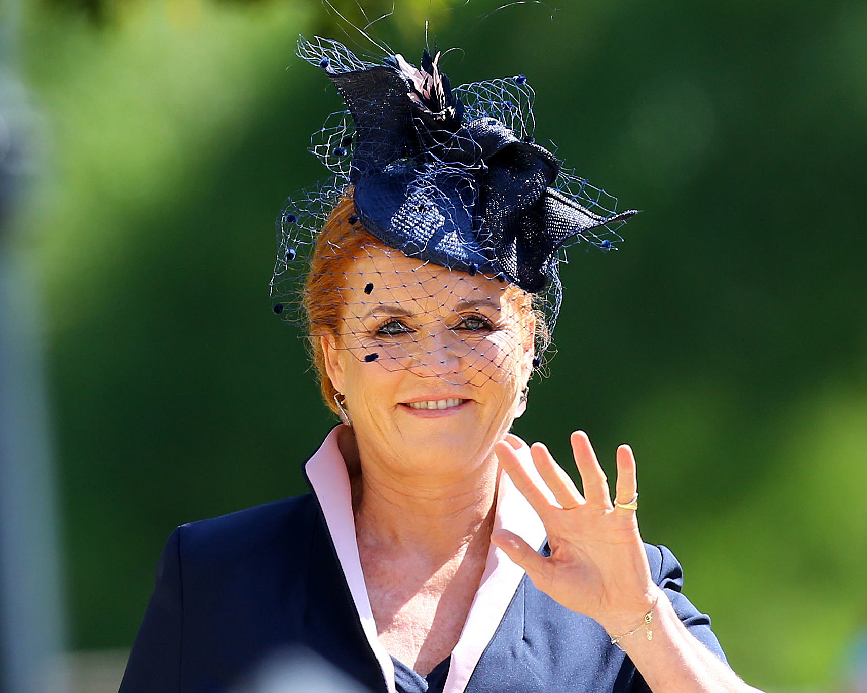 Sarah Duchess of York at the wedding of Prince Harry and Meghan Markle in May 2018