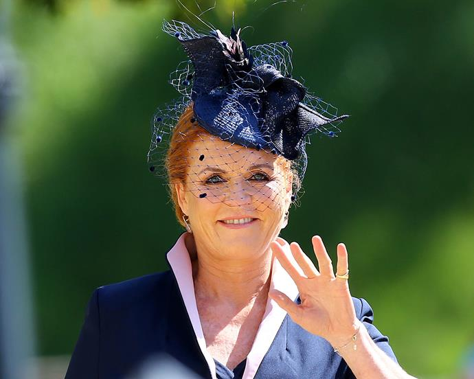 Sarah, Duchess of York at the wedding of Prince Harry and Meghan Markle in May 2018.