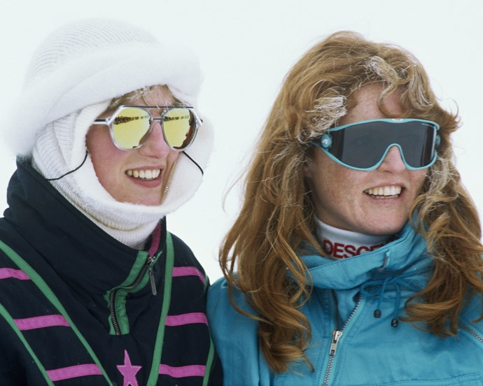 Sarah, Duchess of York and Diana on a ski trip in Klosters, Switzerland in 1987.