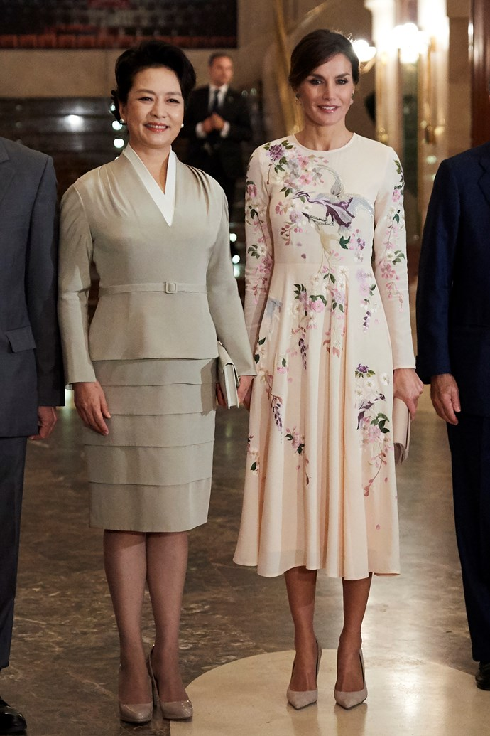 In November 2018, Queen Letizia of Spain stepped out in an embroidered ASOS floral dress dyring a visit to the opera with China's First Lady Peng Liyuan.