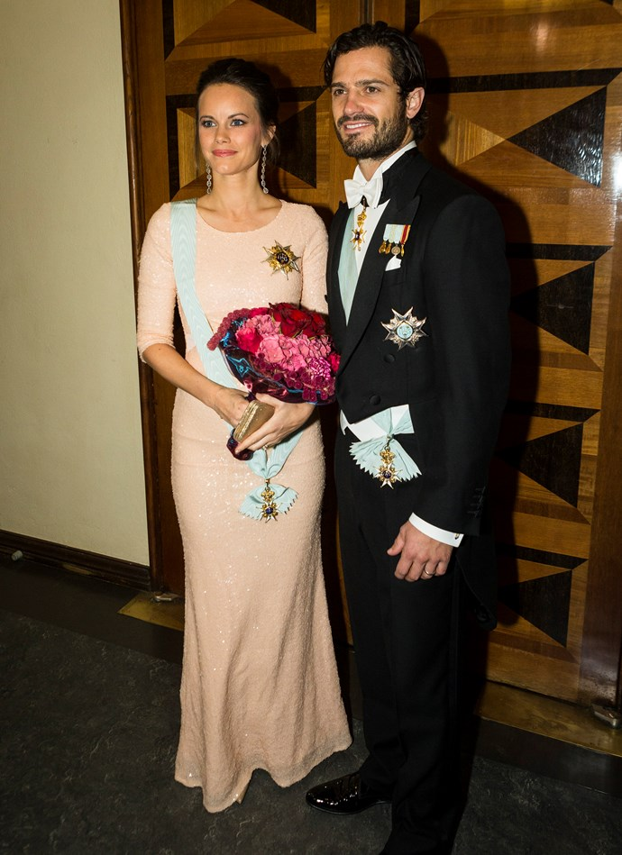 Princess Sofia of Sweden has a noteworthy love of designer labels, but while pregnant in November 2015, the Swedish royal wore an AU$195 dress to a ball event.