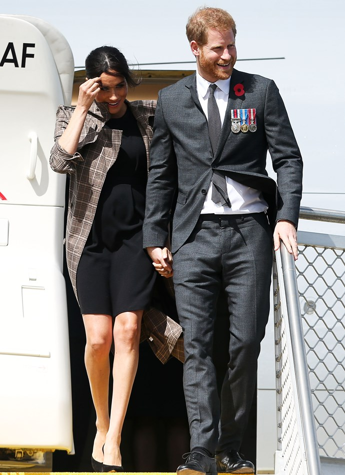 In late October 2018, Meghan Markle wore a black ASOS Maternity dress during her visit to New Zealand, and wore a trench coat by New Zealand designer Karen Walker.