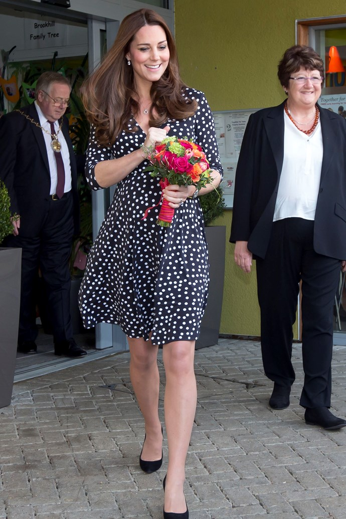 During her first pregnancy with Prince George, the Duchess wore a similar polka-dot dress by designer Jenny Packham—however, the ASOS look saw her taking a more affordable fashion turn.