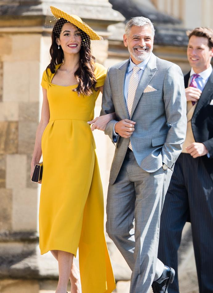 Amal and George Clooney at the wedding of Meghan Markle and Prince Harry on May 19, 2018.