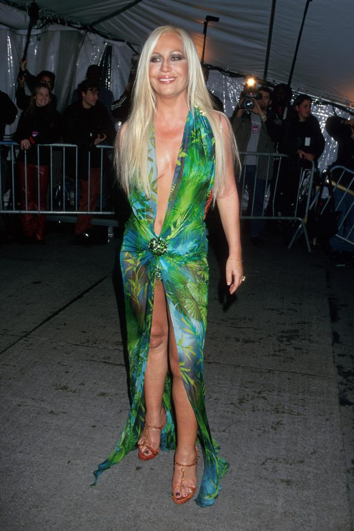 Donatella Versace at the Met Gala in 1999.
