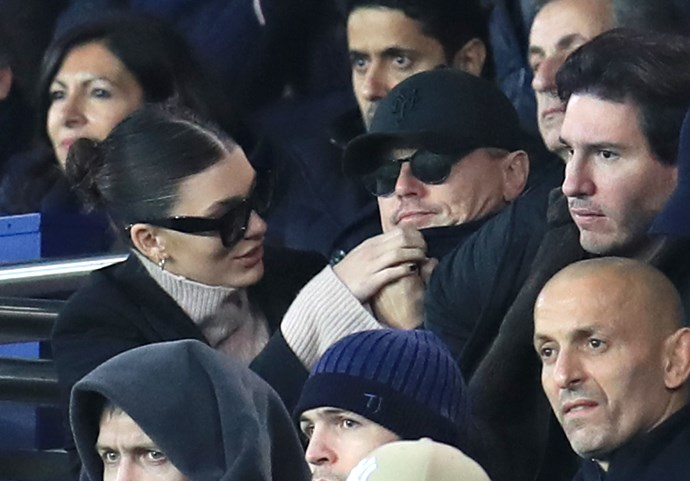 Morrone and DiCaprio attend a football match in Paris in November 2018.