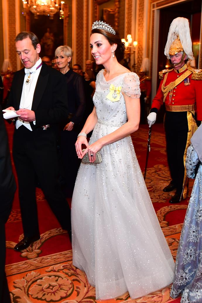 Catherine, Duchess of Cambridge in Jenny Packham at the Diplomatic Corps Gala on December 4, 2018.