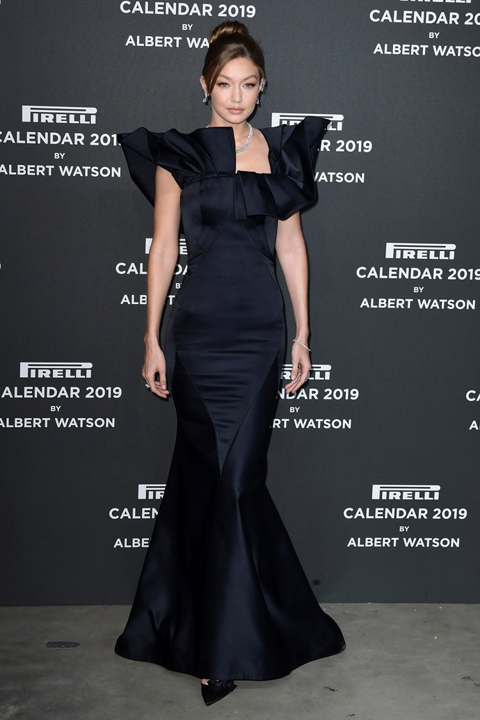 Gigi Hadid at the launch of the 2019 Pirelli Calendar in Milan, Italy on December 5, 2018.