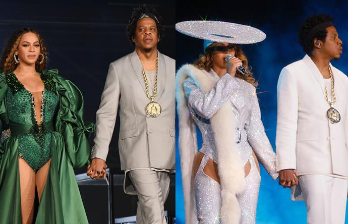 ***Jay-Z & Beyoncé*** <br><br> Hip-hop's Bonnie & Clyde—their words, not ours—were more stylish than ever in 2018, following ten years of marriage (and some highly publicised marital woes). On their 'On The Run II' tour, Bey's looks by Vivienne Westwood, Giambattista Valli and Versace had us short of breath, while her husband's casual suiting proved you can still look a million dollars while wearing a t-shirt.