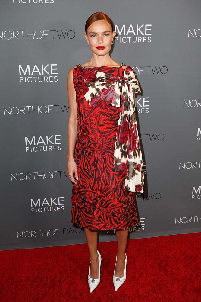 In a Calvin Klein dress.