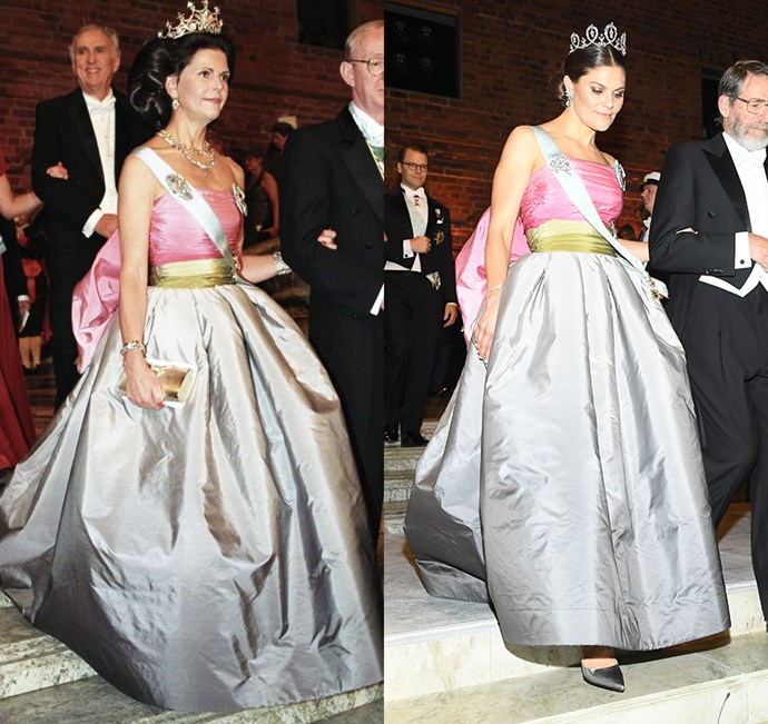 Princess Victoria and Queen Silvia of Sweden didn't just wear the same dress... they wore the *exact* same dress. Princess Victoria dipped into her mother's archives and wore a Nina Ricci gown that had been previously worn at the 1995 Nobel Prize Ceremony.