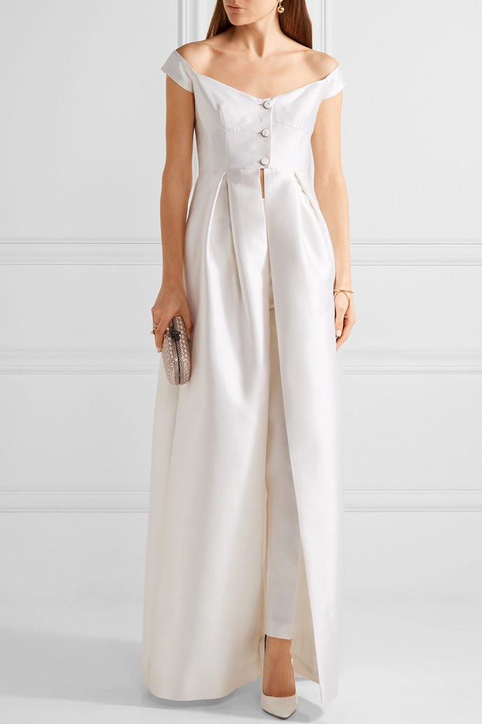 "**The Top And Pants Pairing:** A modern take on the traditional ""gown"" approach that also allows for major movement on the dance floor (very important), a top and pants duo signals that you're a sophisticated bride who's not too concerned with tradition. <br><br> *Gabriela Hearst Tituba silk and wool-blend [gown](https://www.net-a-porter.com/us/en/product/847622/Gabriela_Hearst/tituba-off-the-shoulder-silk-and-wool-blend-gown