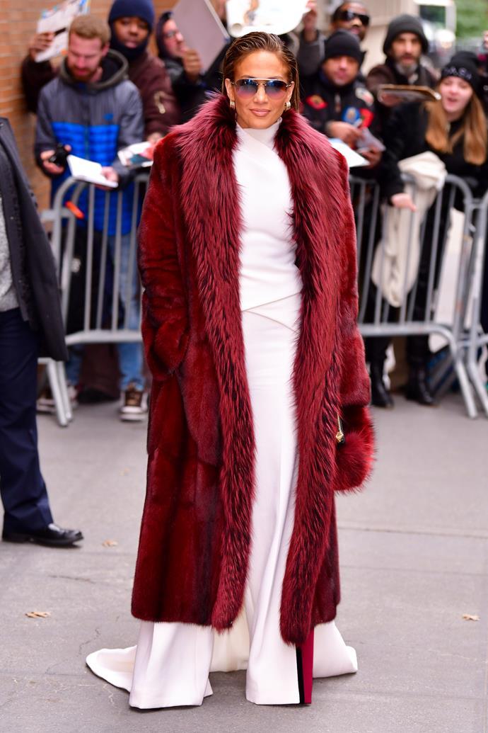 Jennifer Lopez in New York City on December 12, 2018.