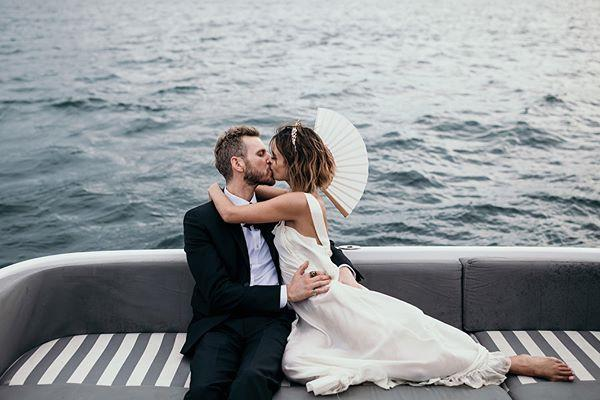 **On the location:** <br><br> We knew we wanted it to be in Australia, by the harbour, so we married at The Island [floating beach club] on Sydney harbour.