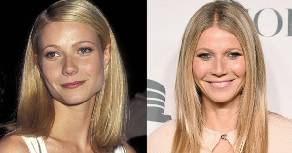 Gwyneth Paltrow pictured in 1995 and in 2018.