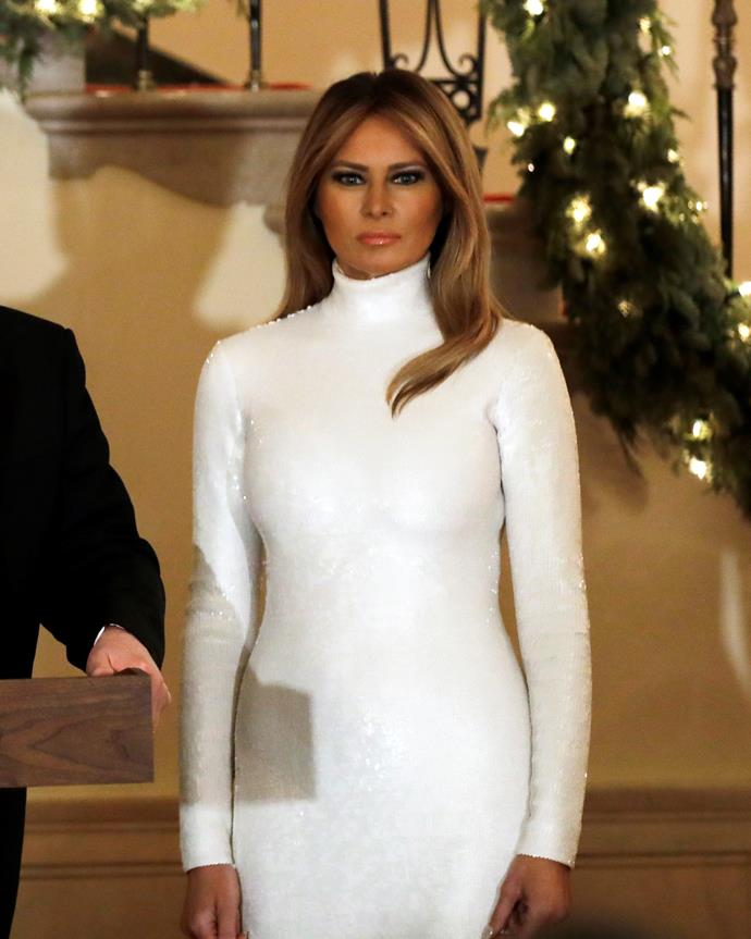 Melania Trump at the White House Christmas Party on December 15, 2018.