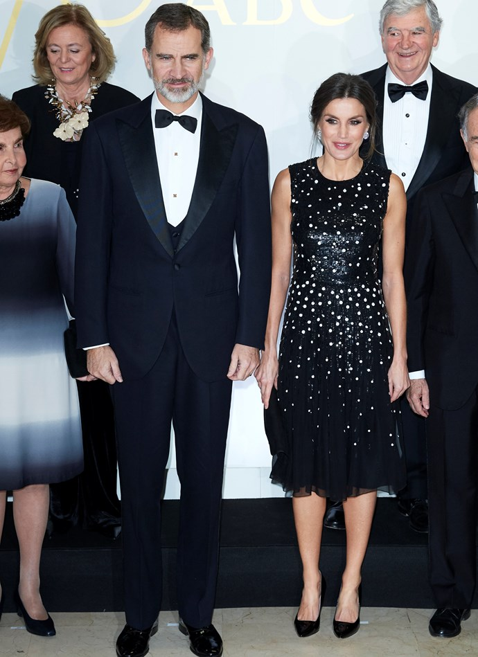 Queen Letizia of Spain with her husband King Felipe VI on December 17, 2018.