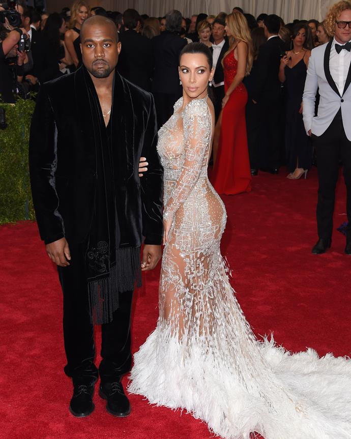 Kim Kardashian West and Kanye West at the 2015 Met Gala.