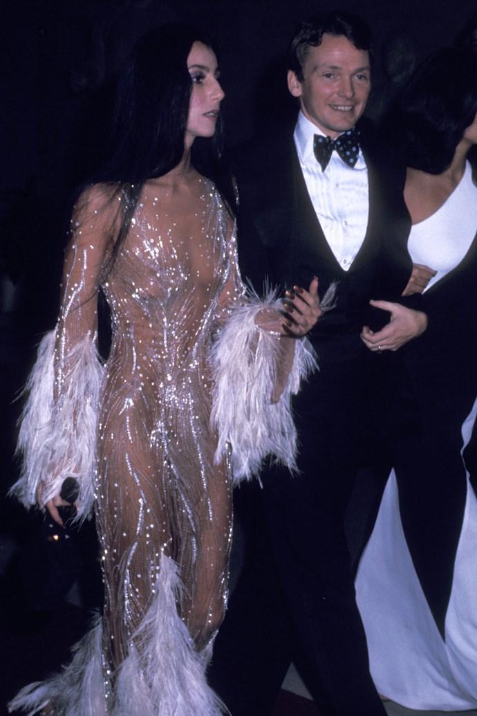 Cher and designer Bob Mackie at the 1974 Met Gala.