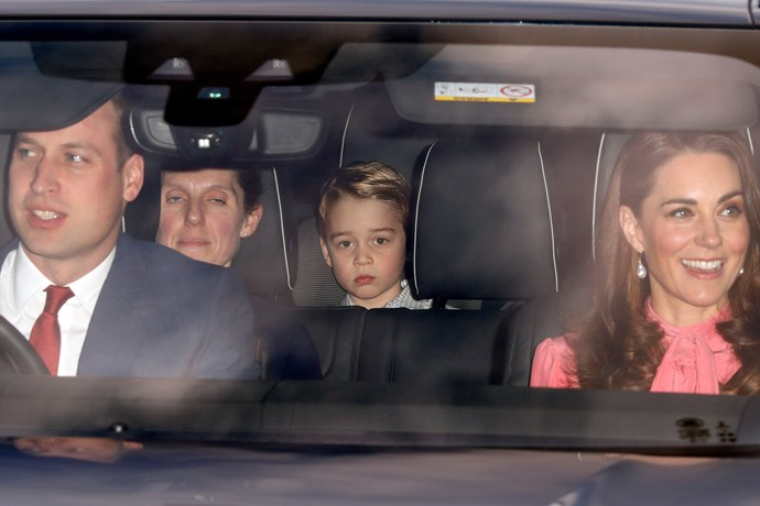 Kate Middleton, Prince William and Prince George, with Prince George's nanny, arriving at Buckingham Palace on December 19, 2018.