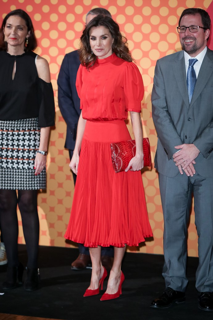 Queen Letizia of Spain at the Spanish National Fashion Awards on December 19, 2018.