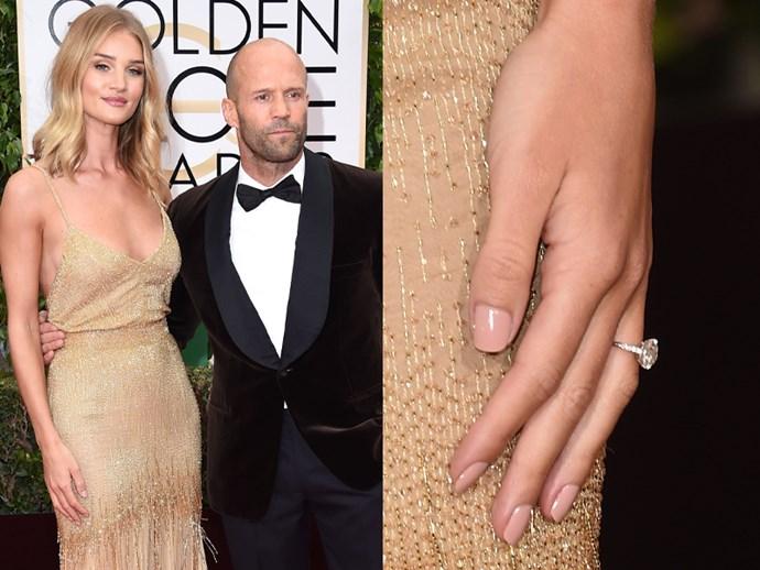 Rosie Huntington-Whiteley and Jason Statham at the 2016 Golden Globe Awards.