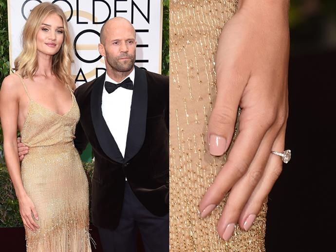 Rosie Huntington-Whiteley and Jason Statham at the 2016 Golden Globe Awards.