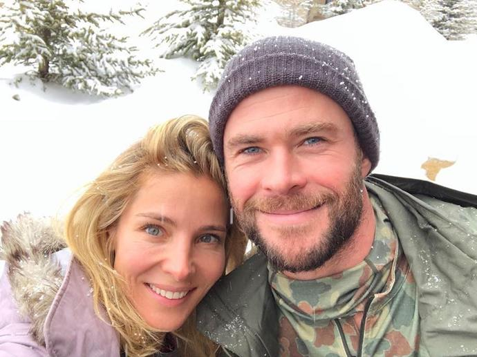 Elsa Pataky and Chris Hemsworth in pastels and camo print in Montana.