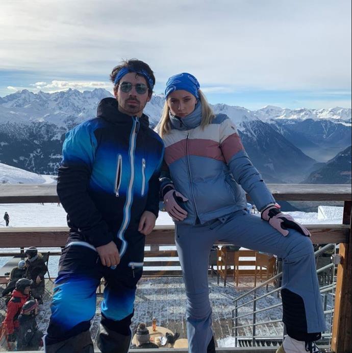Engaged couple Joe Jonas and Sophie Turner in winter brights in Switzerland.