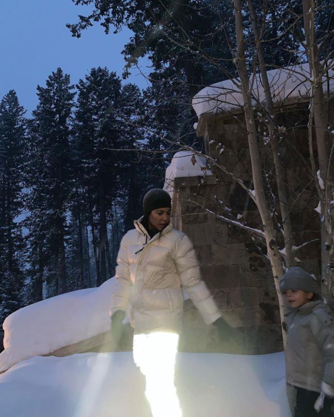 Kourtney Kardashian keeping it practical in Aspen.