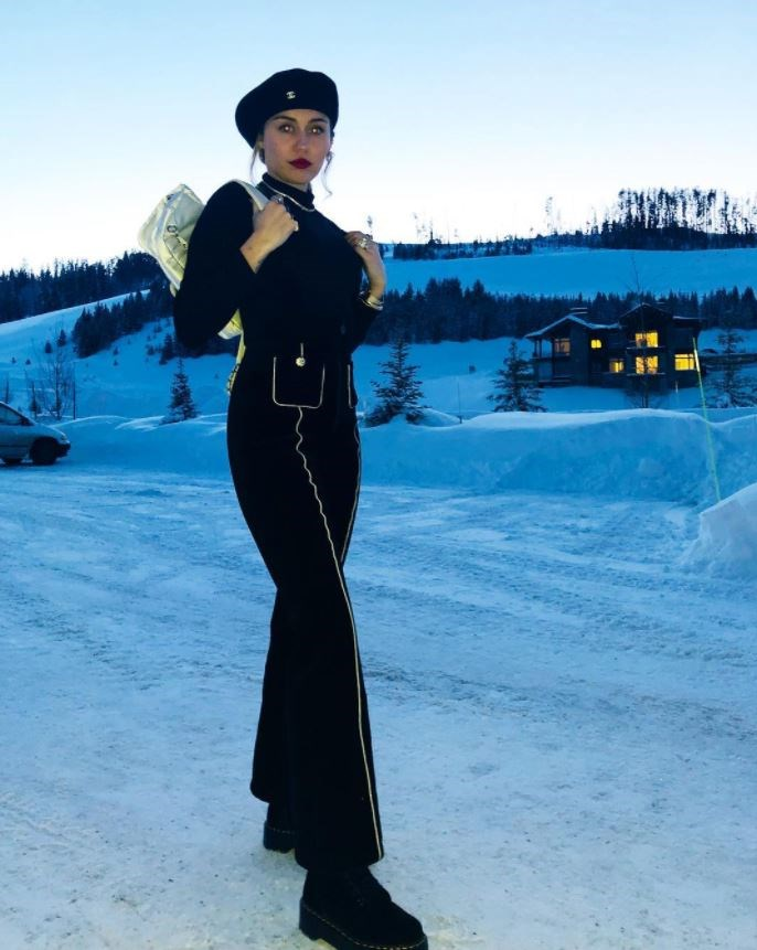 Miley Cyrus in Chanel in Montana.