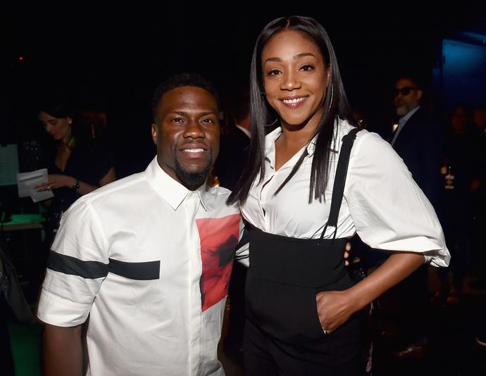Former host Kevin Hart with hot favourite to replace him, Tiffany Haddish.