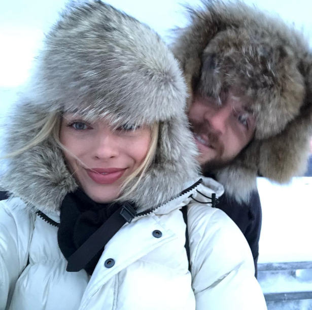 Margot Robbie and husband Tom Ackerley in Lapland.