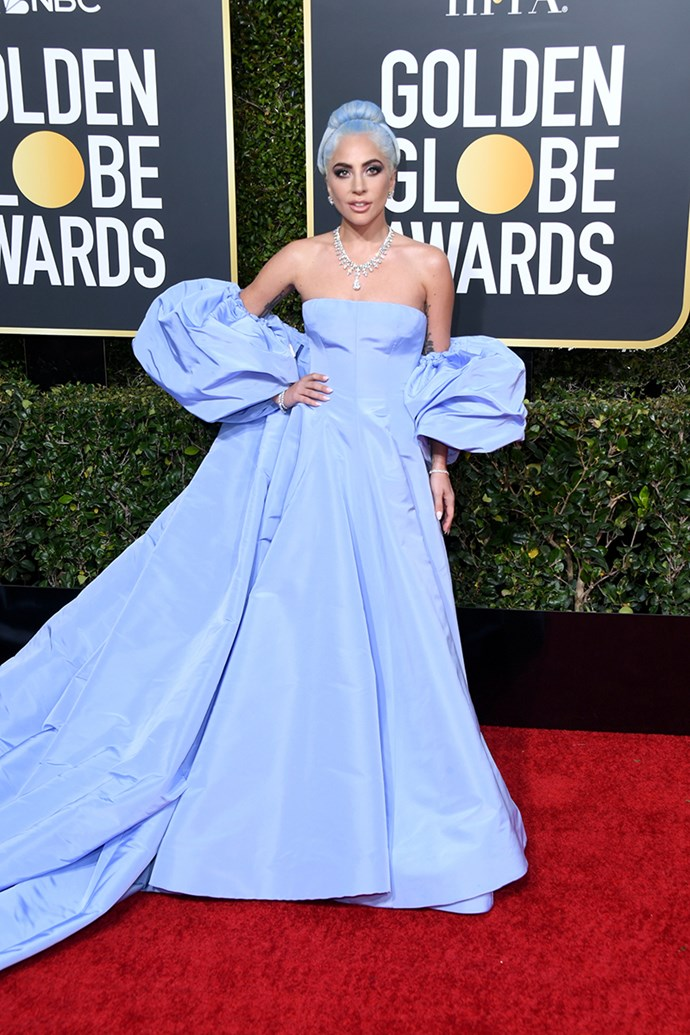 "**Lady Gaga in custom Valentino**<br><br> ""A massive, lunchtime-soup-spilling wow for her top-to-toe cornflower blue tribute to Judy Garland."" *Tom Lazarus, copy director.*<br><br> ""Icy blue dreams. I'm in love with this Valentino collection, incredible fabric and I like her playfulness with the matching hair."" *Caroline Tran, fashion editor.*<br><br> ""Gaga in Valentino is a match made in heaven!"" *Grace O'Neill, fashion features director.*"