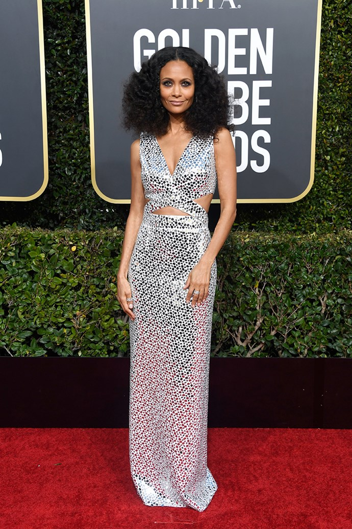 "**Thandie Newton in Michael Kors Collection**<br><bR> ""Thandie Newton gets it right every time. The hair and makeup really elevate this look for me."" *Grace O'Neill, fashion features director.*"