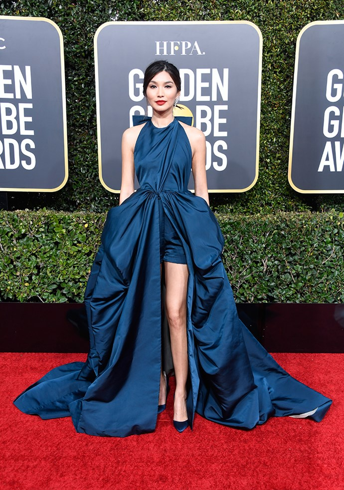 "**Gemma Chan in Valentino couture**<br><br> ""I love the contrast of the red lip with the navy dress, and the proportions of the gown keep the overall look fresh and modern. Plus, Gemma has THAT face, so…"" *Kate Lancaster, beauty writer.*"