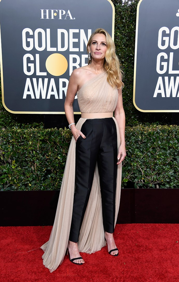 "**Julia Roberts in Stella McCartney**<bR><br> ""She looks incredible—like she's 25 years old—and I always respect a pants moment on the red carpet."" *Susannah Guthrie, digital content director.*"