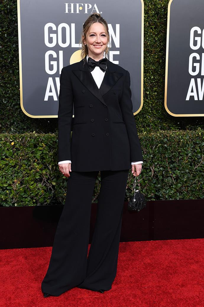 "**Judy Greer in Alberta Ferretti**<br><br>  ""She looks comfy and I love a double breasted suit that isn't trying to be overly sexy!"" *Kate Sullivan, senior editorial coordinator.*<br><br> ""Because my ideal red carpet look sits at the crossroad between 'comfortable' and 'just about to tap dance with Ginger Roberts in 1942's *Holiday Inn*'."" *Mahalia Chang, digital managing editor.*"