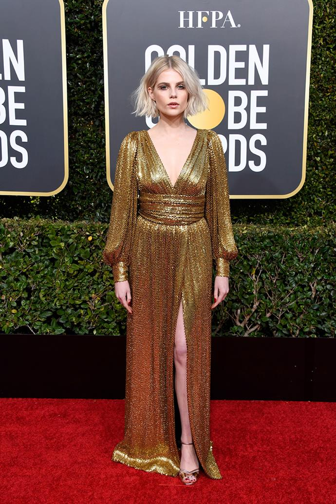 "**Lucy Boynton in Celine**<br><br> ""Don't know who she is but she literally dressed as a Golden Globe and I'm about it."" *Kate Sullivan, senior editorial coordinator.*"