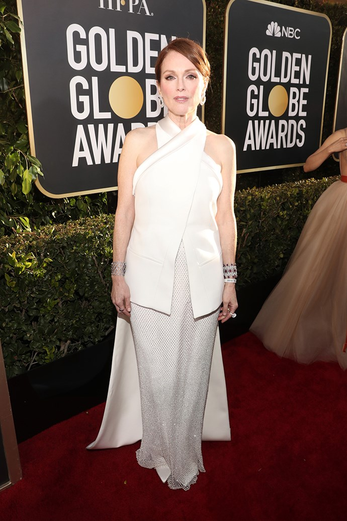 "**Julianne Moore in custom Givenchy**<br><br> ""The cross over vest situation with long train over the beaded skirt is very sleek and sharp."" *Caroline Tran, fashion editor.*"