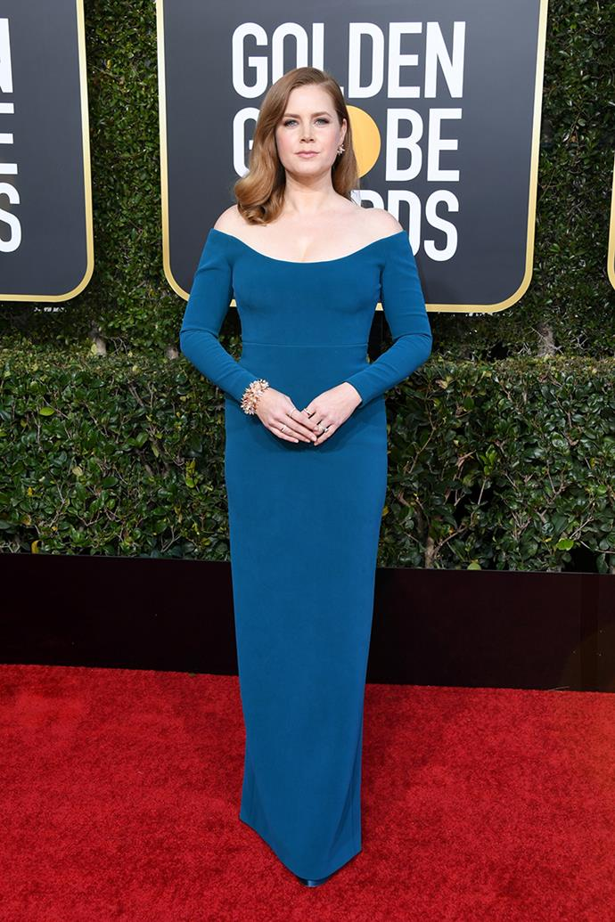 "**Amy Adams in Calvin Klein by Appointment**<br><br> ""A very nice urchin bracelet against a chic teal sea."" *Chris Xi, beauty and features assistant.*"