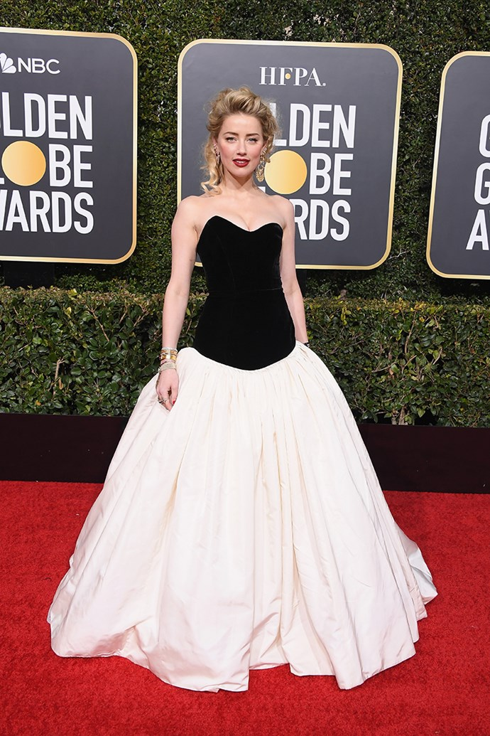 "**Amber Heard in Monique Lhuillier**<br><br> ""Although this entire outfit is admittedly A Lot, I love how Amber Heard commits fully to every look she wears. That Victoriana Gibson Girl hair makes my heart skip a beat."" *Mahalia Chang, digital managing editor.*"